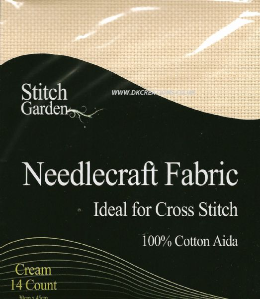 Stitch Garden Cream 14 Count Aida Fabric